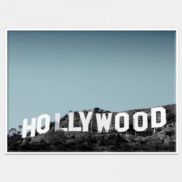 Hollywood Blue Canvas - White box Frame