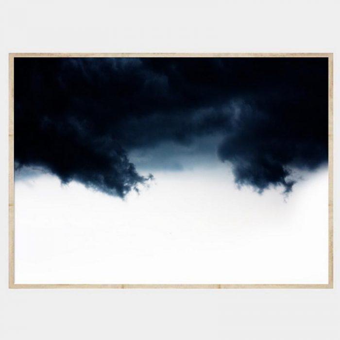 Navy Waves Canvas - Natural Box Frame
