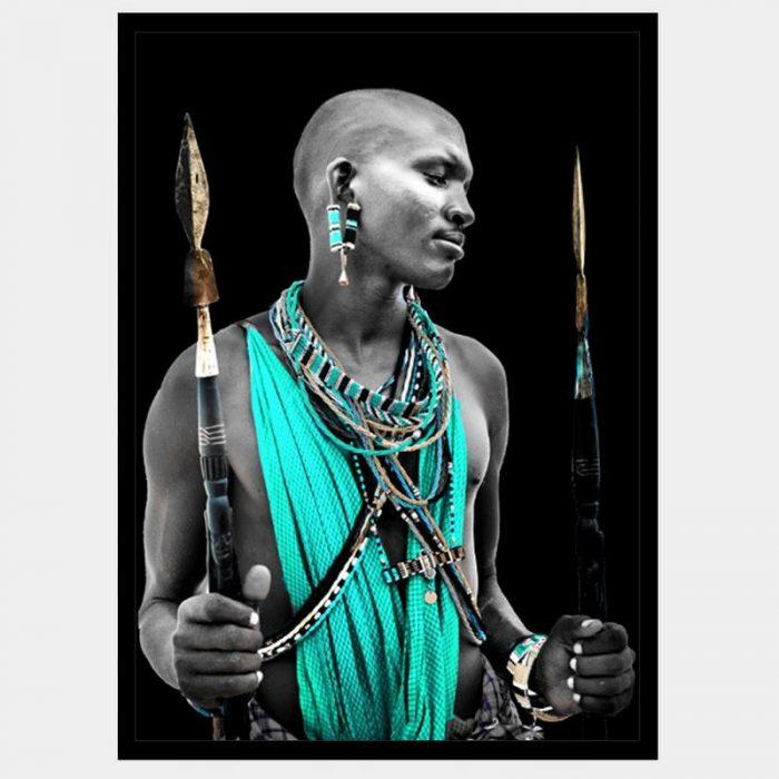Teal Warrior - Flat Matte Black