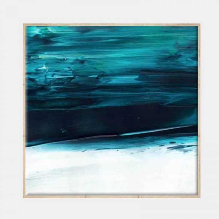 Under Water Blue Canvas - Natural Box Frame